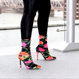 Stretch Floral Multi Color Sock Bootie